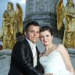 Bride and groom in front of fountain — Stock Photo #81158940