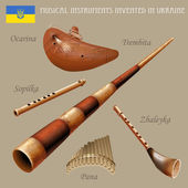 Set of musical instruments invented in Ukraine — Stock Vector