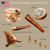 Set of musical instruments invented in USA — Stock Vector