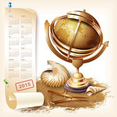 Calendar for 2015 with navigational and geographical tools — Stock Vector
