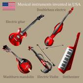 Set of musical instruments invented in USA. — Stock Vector