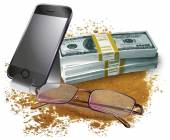 Set of phone,money and glasses — Stock Vector