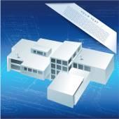 3D building model — Stock Vector