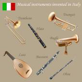 Set of musical instruments invented in Italy — Stock Vector