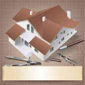 Architektonické pozadí s modelem budovy. — Stock vektor