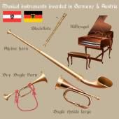 Set of musical instruments invented in Germany & Austria — Stock Vector