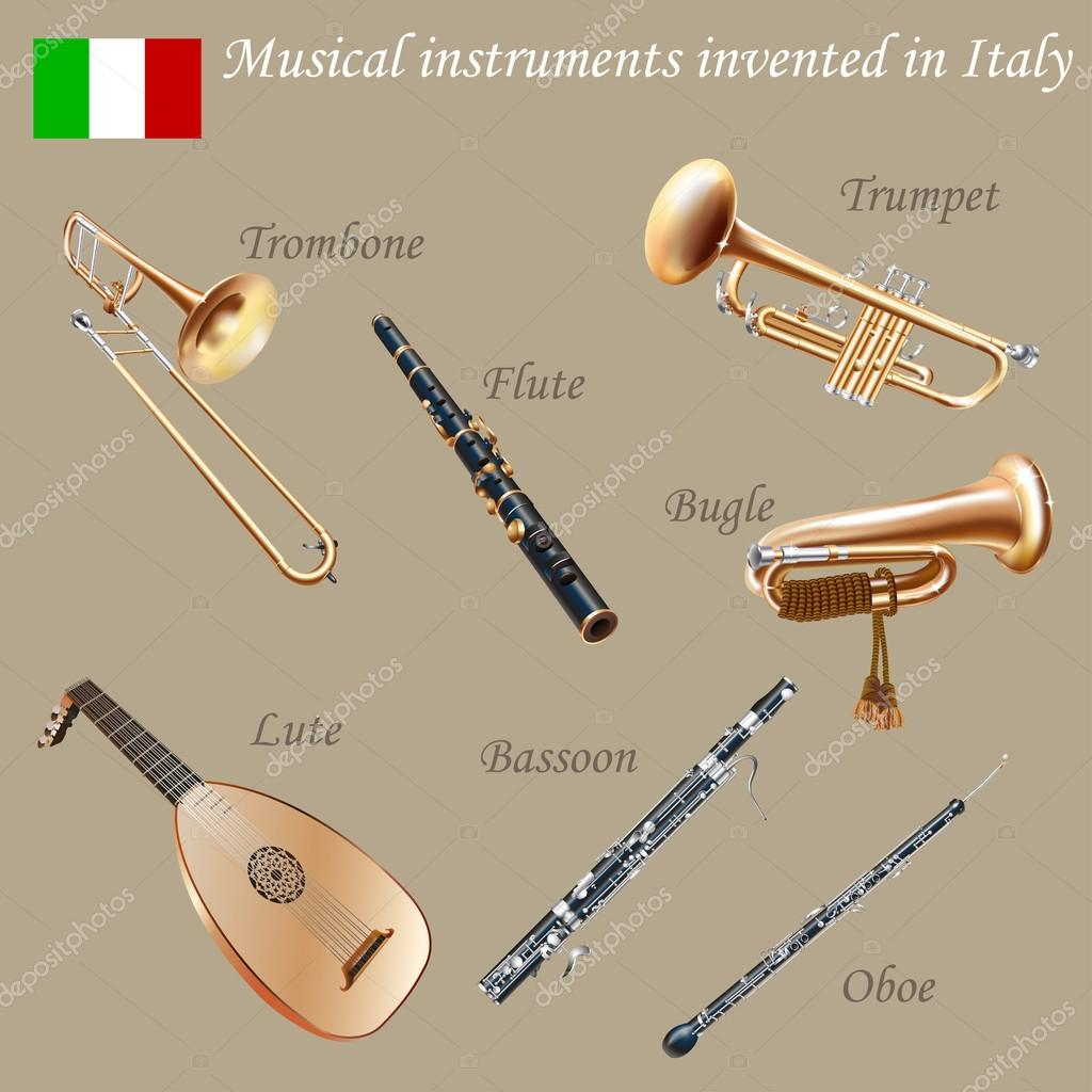 Set of musical instruments invented in Italy – Stock Illustration