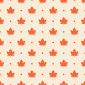 Retro seamless pattern. Orange maple leaves and dots on beige te — Stock Vector
