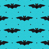 Halloween seamless textured polka dots pattern with bats — Stock Vector