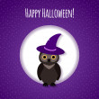 Halloween card or background with owl — Stock Vector #53792713