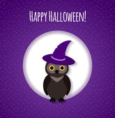 Halloween card or background with owl — Stock Vector