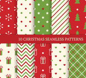 10 Christmas different seamless patterns. — Vector de stock