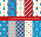 10 Christmas different seamless patterns. — Stock Vector