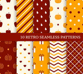 10 retro different seamless patterns. Autumn theme. Endless text — Stock Vector