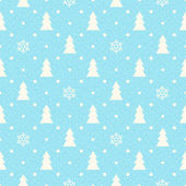 Christmas seamless background with fir tree and snowflakes — Vecteur