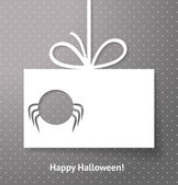 Applique card or background with spider. Halloween card or backg — Stock Vector