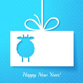 Applique with cut out goat. New Year greeting card or background — Stock Vector
