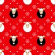Red seamless pattern with cute goat and snowflakes — Stock Vector #57638431