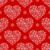 Red seamless pattern with hearts made of snowflakes. — Wektor stockowy