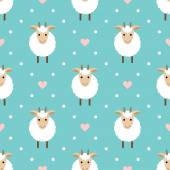 Polka dots seamless pattern with cute goat. — Stock vektor