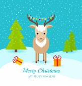 Cute deer with gifts and garland on horns — Cтоковый вектор