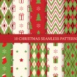 Set of Christmas different seamless patterns — Stock Vector #58402835