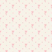 Retro seamless pattern. Pink flowers and dots on beige backgroun — Stok Vektör