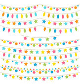 Collection of colorful garland lights — Stock Vector