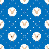 Blue seamless pattern with cute sheep and hearts — Stock Vector