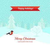 Christmas winter landscape background — Stock Vector