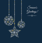 Blue background with christmas ball made of snowflakes. — Vecteur
