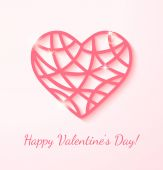Applique card with pink heart.  — Stock vektor