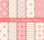 10 different seamless patterns. Love collection — Stock Vector