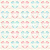 Retro seamless pattern. Pink and blue hearts on beige background — Vector de stock