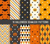 Ten Halloween different seamless patterns. — Stock Vector