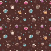 Vector pattern with muffins — Stock Vector