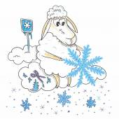 Sheep with snowflakes — Stock Vector