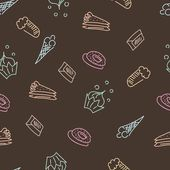 Patrón marrón con dulces — Vector de stock