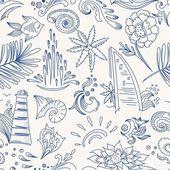 Sketch sea travel pattern — Stock Vector