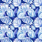 Blue Watercolor Tulip Pattern — Stock Photo
