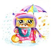 Watercolor Seasons Cat — Stock Photo