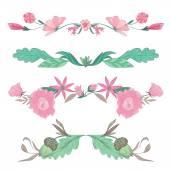 Διάνυσμα Floral βινιέτες στα χλωμά χρώματα — Διανυσματικό Αρχείο