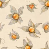 Warm Watercolor Physalis Pattern — Stock Photo