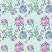 Japan Style Provence Floral Vector Pattern — ストックベクタ