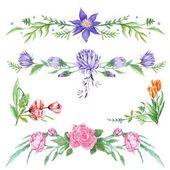 Elegant Watercolor Floral Vignettes — Stock Photo