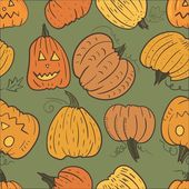 Pumpkin Vector Pattern — Stock Vector