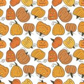 Funny Pumpkin Vector Pattern — Stock Vector