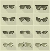 Set of vector glasses in vintage style — Stock Vector