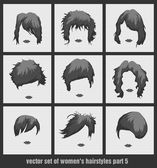 Vector set of womens hairstyles — Stock Vector