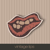 Vintage paper lips — Stock Vector